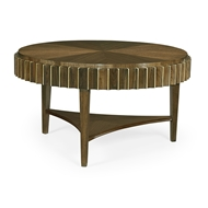 Jonathan Charles Home Round Autumn Walnut Reeded Coffee Table 500216