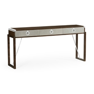 Jonathan Charles Home Campaign Style Dark Santos Rosewood & Grey Leather Console Table with Drawers 500219