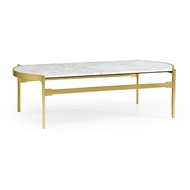 Jonathan Charles Home Curved Edge Antique Satin Gold Brass & White Calcutta Marble Coffee Table 500220