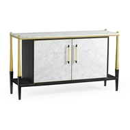 Jonathan Charles Home Ebonised Oak & Brass Sideboard with White Calacatta Marble Top 500222