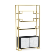 Jonathan Charles Home Contemporary Antique Satin Gold Brass & Ebonised Oak Etagere 500224