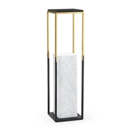 Jonathan Charles Home Contemporary Square Ebonised Oak & Brass Pedestal 500225