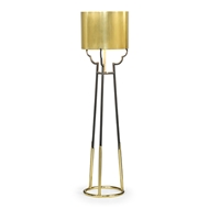 Jonathan Charles Lighting Contemporary Antique Satin Gold Brass & Black Stainless Steel Floor Lamp 500227