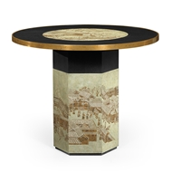 Jonathan Charles Home Round Chinoiserie Style Antique Etched Brass & Ebonised Oak Centre Table 500229