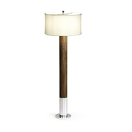 Jonathan Charles Lighting Circular Campaign Style Dark Santos Rosewood & White Stainless Steel Floor Lamp 500244
