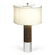 Jonathan Charles Lighting Circular Campaign Style Dark Santos Rosewood & White Stainless Steel Table Lamp 500245