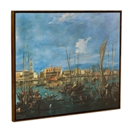 Jonathan Charles Home Venice San Marco Painting on A Honey Walnut Frame