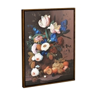 Jonathan Charles Home Still Life with Flowers & Fruit Painting on Medium Walnut Frame