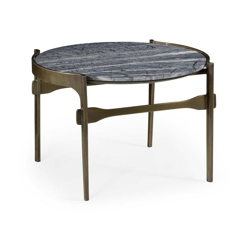 Marble Top Brass Coffee Table.Jonathan Charles Home Low Round Solid Brass Coffee Table With A Grey Marble Top