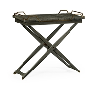 Jonathan Charles Home Rectangular Folding Grey & Antique Brass Tray Console Table 550025
