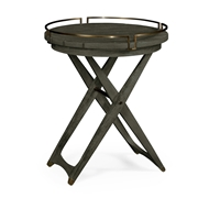 Jonathan Charles Home Round Folding Grey & Antique Brass Tray End Table 550026