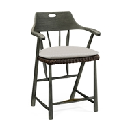 Jonathan Charles Home Smokers Style Grey & Rattan Bar Stool with Cushion, Upholstered in COM 550034-BS