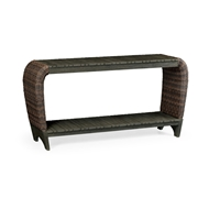 Jonathan Charles Home Rectangular Grey & Rattan Console Table with Curved Ends 550038