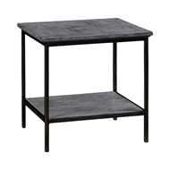 Jonathan Charles Home Antique Dark Grey Square End Table with Iron Base 491002