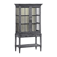 Jonathan Charles Home Antique Dark Grey Glazed Display Cabinet with Strap Handles 491094