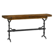 "Jonathan Charles Home 63"" Rectangular Country Walnut & Iron Hunt Table 491194-63L"