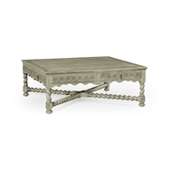 "Jonathan Charles Home Tudor Dark Oak Square Distressed Coffee Table (52"") 493167"