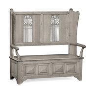 Jonathan Charles Home Gothic Style Dark Oak Settle with Storage 493375