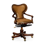 Jonathan Charles Home Adjustable Kidney Desk Chair in Medium Antique Chestnut Leather