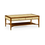 Jonathan Charles Home Ivory Shagreen Coffee Table with Drawers 494519-DLF