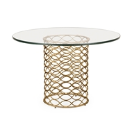 "Jonathan Charles Home 48"" Interlaced Bronze & Glass Dining Table 494568-48D"