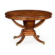 Jonathan Charles Home Biedermeier Style Crotch Walnut Centre Or Library Table 494635-CWM