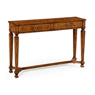 Jonathan Charles Home Empire Style Walnut Two Drawer Console 494846