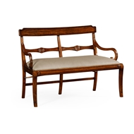 Jonathan Charles Home Regency Walnut Bench with Scrolling Arms 495009