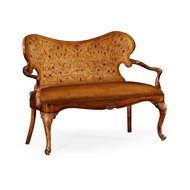 Jonathan Charles Home Seaweed Marquetry Loveseat (Leather) 495151