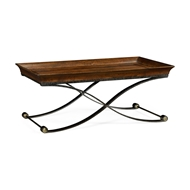 Jonathan Charles Home Brown Mahogany Coffee Table with Antique Iron Base 495729-LBM