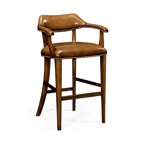 Jonathan Charles Home Walnut Library Bar Stool, Upholstered in Light Brown Leather 495903-BS