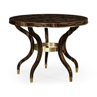 Jonathan Charles Home Round Natural Macassar Ebony & Brass Centre Table 495914-AMN