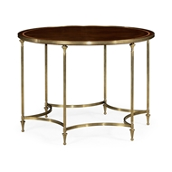 Jonathan Charles Home Round Dark Santos & Brass Centre Table with Six Leg Base 495926