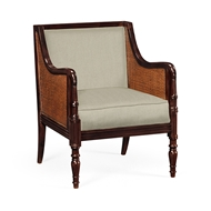 Jonathan Charles Home Bergere Brown Rattan Matte Sides And Back Occasional Chair, Upholstered in MAZO 500032