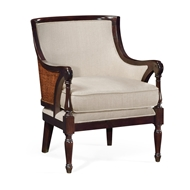 Jonathan Charles Home Curved Rattan Back Occasional Chair, Upholstered in MAZO 500034