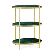 Jonathan Charles Home Large Solid Brass & Blanco Equador Marble Three-Tier End Table 500045