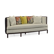 Jonathan Charles Home Rounded Dark Brown Ash Sofa, Upholstered in MAZO 500154-ADB