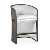 Jonathan Charles Home Grey & Dark Grey Rattan Tub Counter Stool, Upholstered in COM