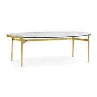 Jonathan Charles Home Oval Antique Satin Gold Brass & White Calcutta Marble Dining Table 500230