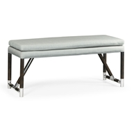 Jonathan Charles Home Campaign Style Charcoal Bench, Upholstered in MAZO 500240
