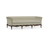 Jonathan Charles Home Louis XV French Walnut Sofa, Upholstered in MAZO 540001