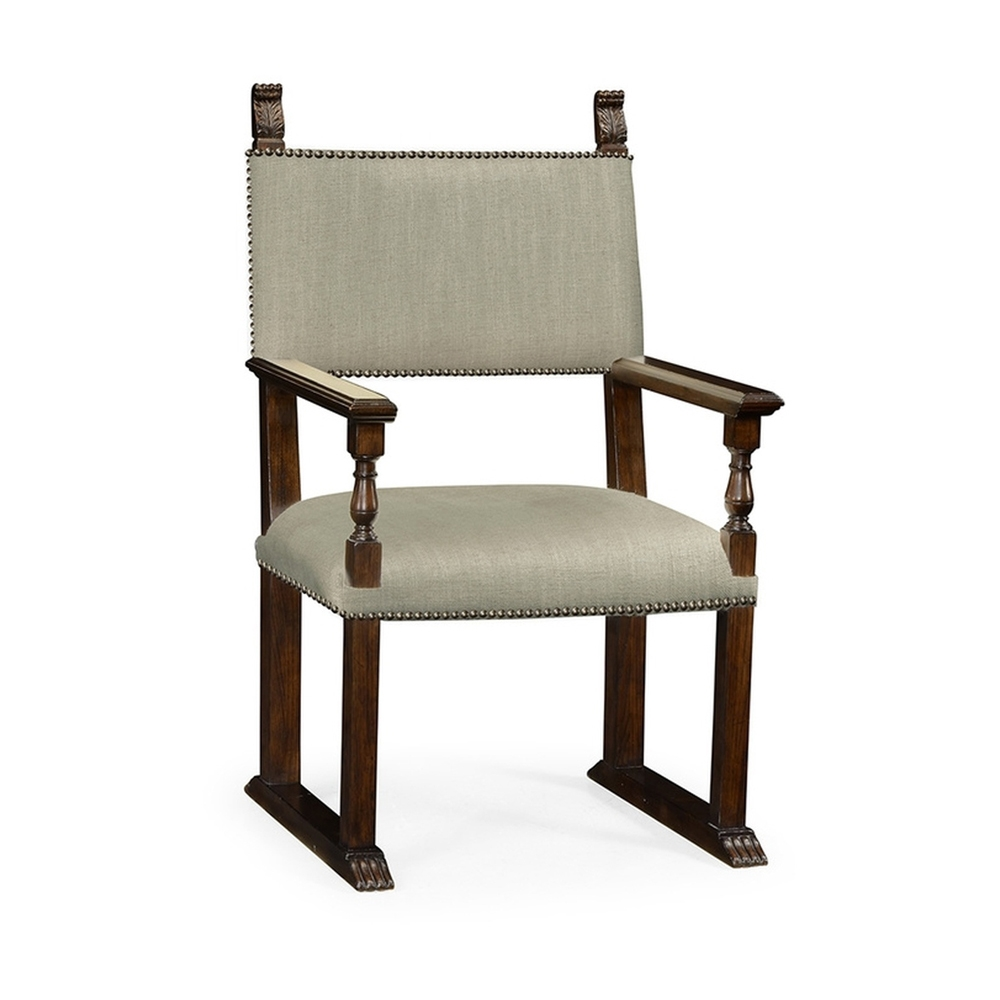 Jonathan Charles Home Acanthus Carved Rich Chestnut Dining Armchair