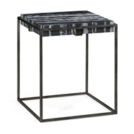 Jonathan Charles Home Square Iron End Table with A Black Marble Top 550000