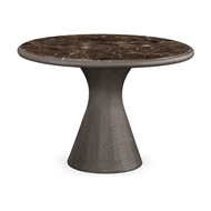 Jonathan Charles Home Round Tan Rattan Dining Table with A Dark Marble Top 550017-43D