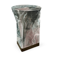 Jonathan Charles Home Round to L-Shape Faux White & Grey Marble End Table 550032