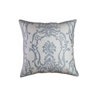 Lili Alessandra Louie Ivory Basket Weave & Blue Silk - Square Pillow