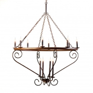 Lowcountry Originals Circular Tubing with Scroll Arms Chandelier