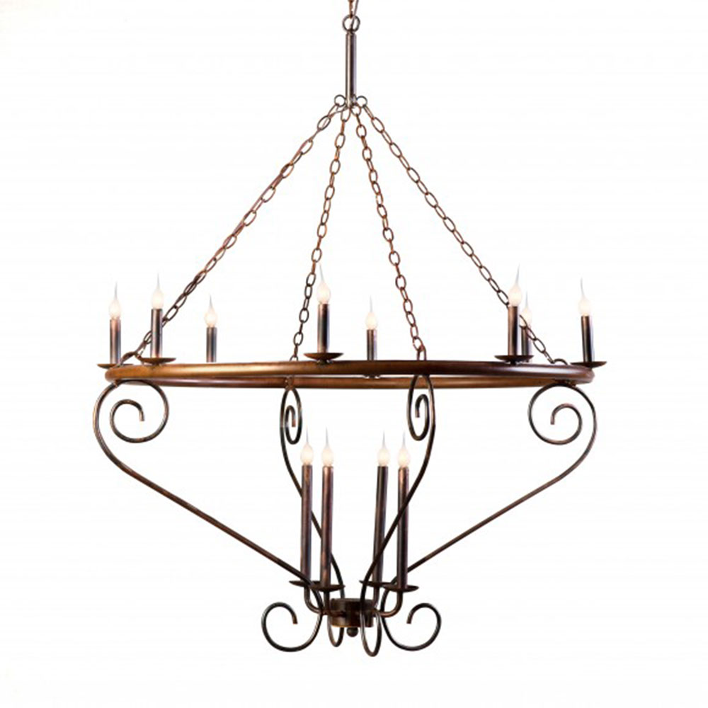 Lowcountry Originals Circular Tubing with Scroll Arms ChandelierLCO-160
