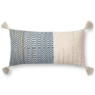 "Magnolia Home by Joanna Gaines 12"" X 27"" Amie Pillow Ivory & Blue - P1086"