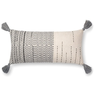 "Magnolia Home by Joanna Gaines 12"" X 27"" Amie Pillow Ivory & Grey - P1086"